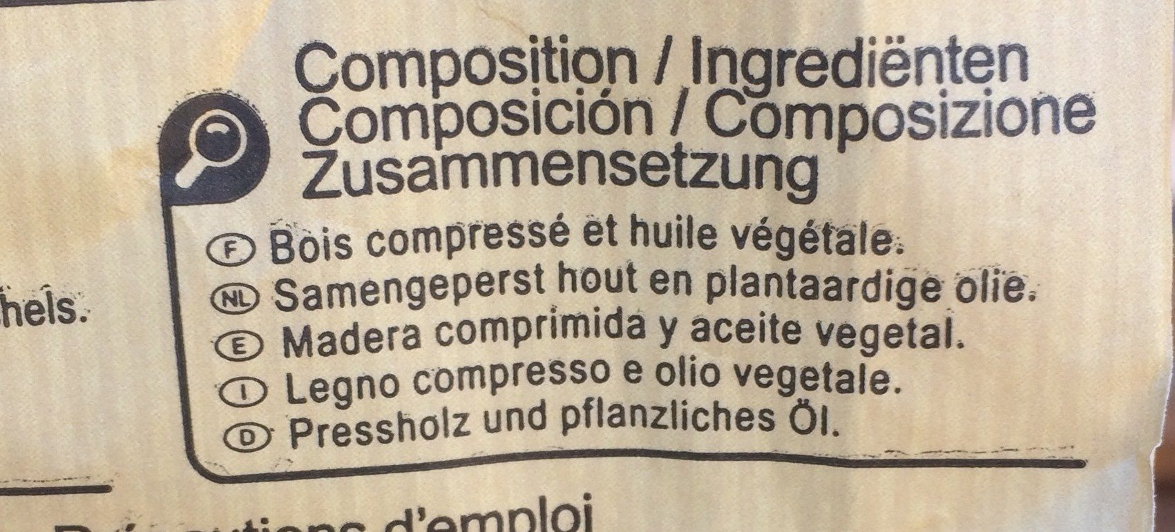 Allume Feu En Bois Compressé x72 - Ingredients - fr
