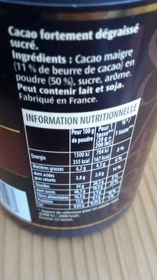 1848 chocolat en poudre - Ingredients