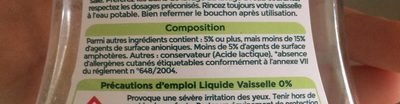 Vaisselle main 0% - Ingredients