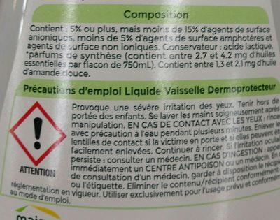 Liquide vaisselle - Ingrédients