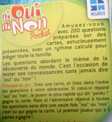 Ni Oui Ni Non Pocket «autour Du Monde» - Ingrédients