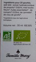 Solution hydro-alcoolique de propolis bio - Ingredients