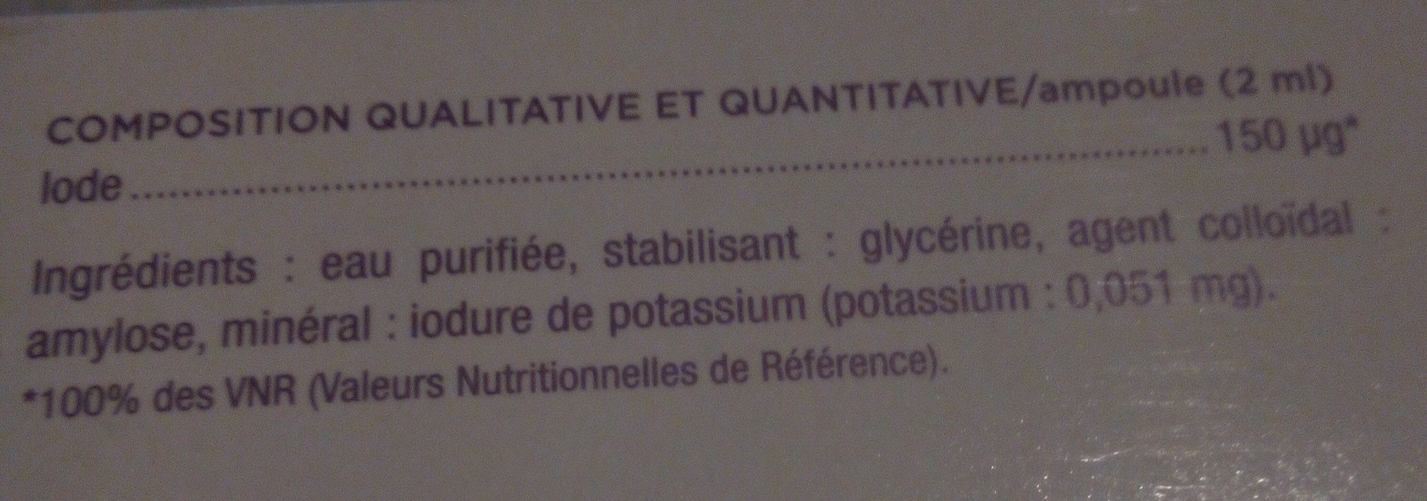 granions d'iode - Ingrédients