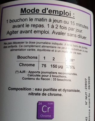 Chrome - 500ML - Catalyons Laboratoire - Ingredients