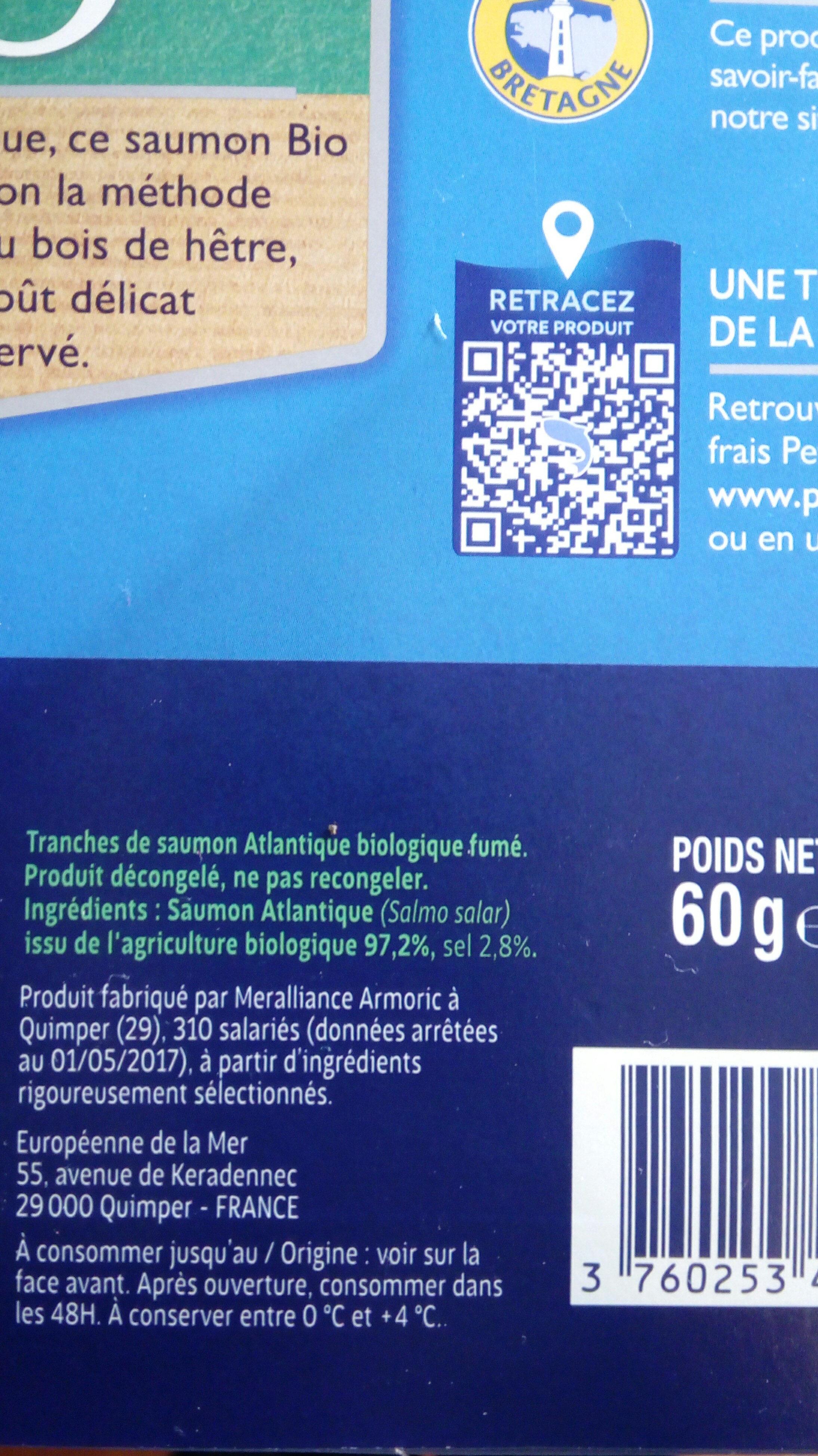saumon fumé bio - Ingrédients - fr