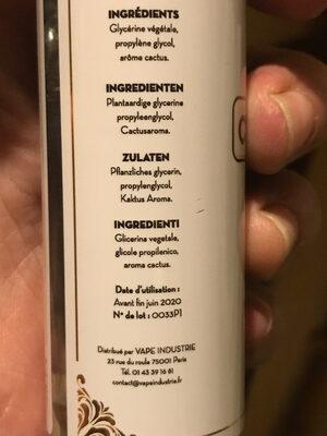 Coin vape - Ingredients - fr