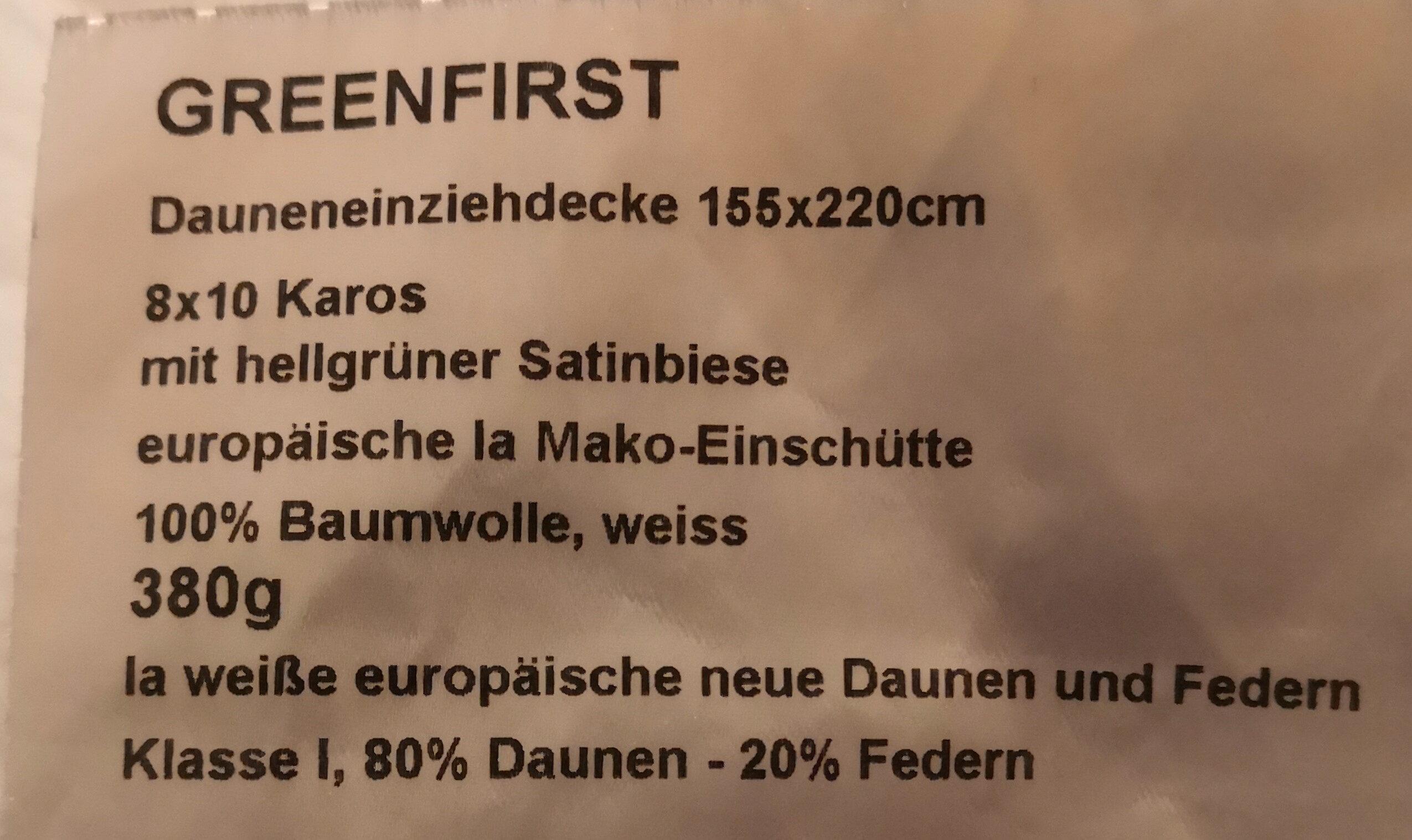Greenfirst Dauneneinziehdecke 155x220cm - Ingredients - de