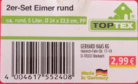 TopTex 2er-Set Eimer rund - Ingredients - de