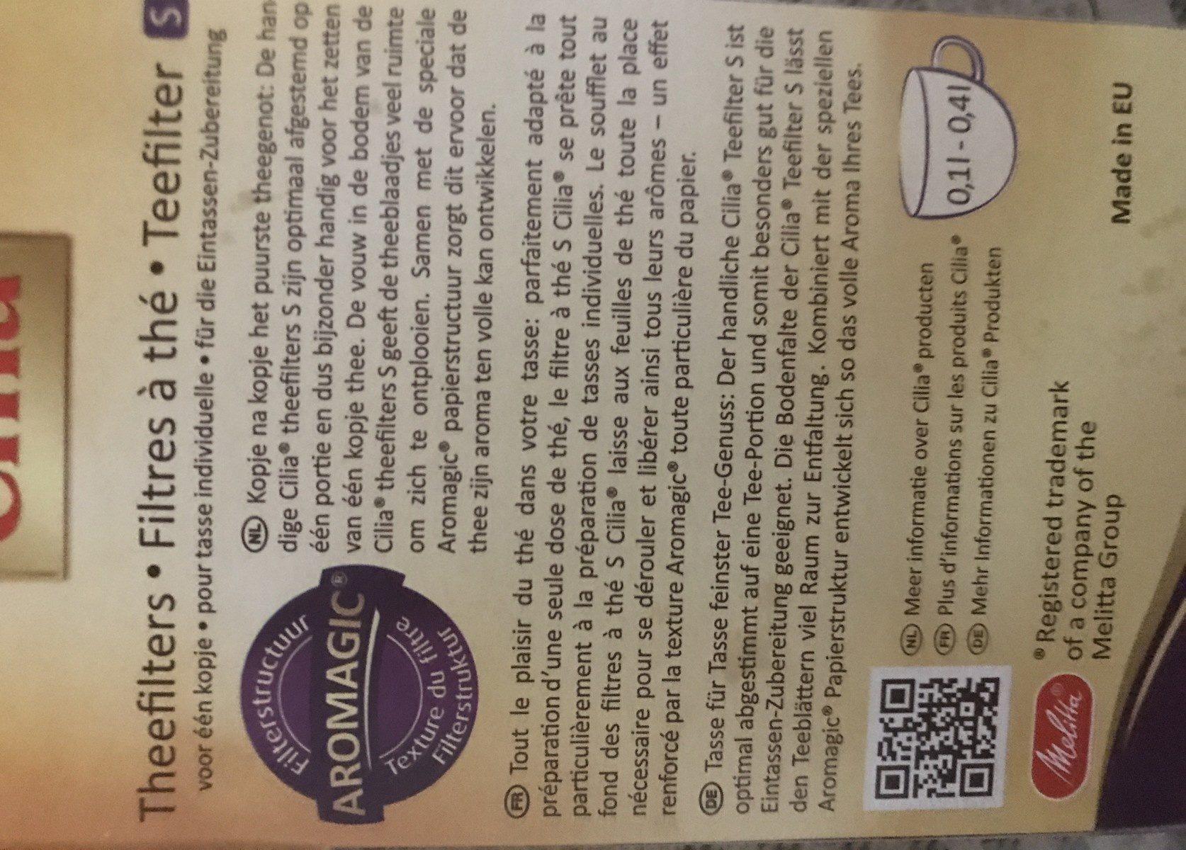 Teefilter S - Ingredients - fr
