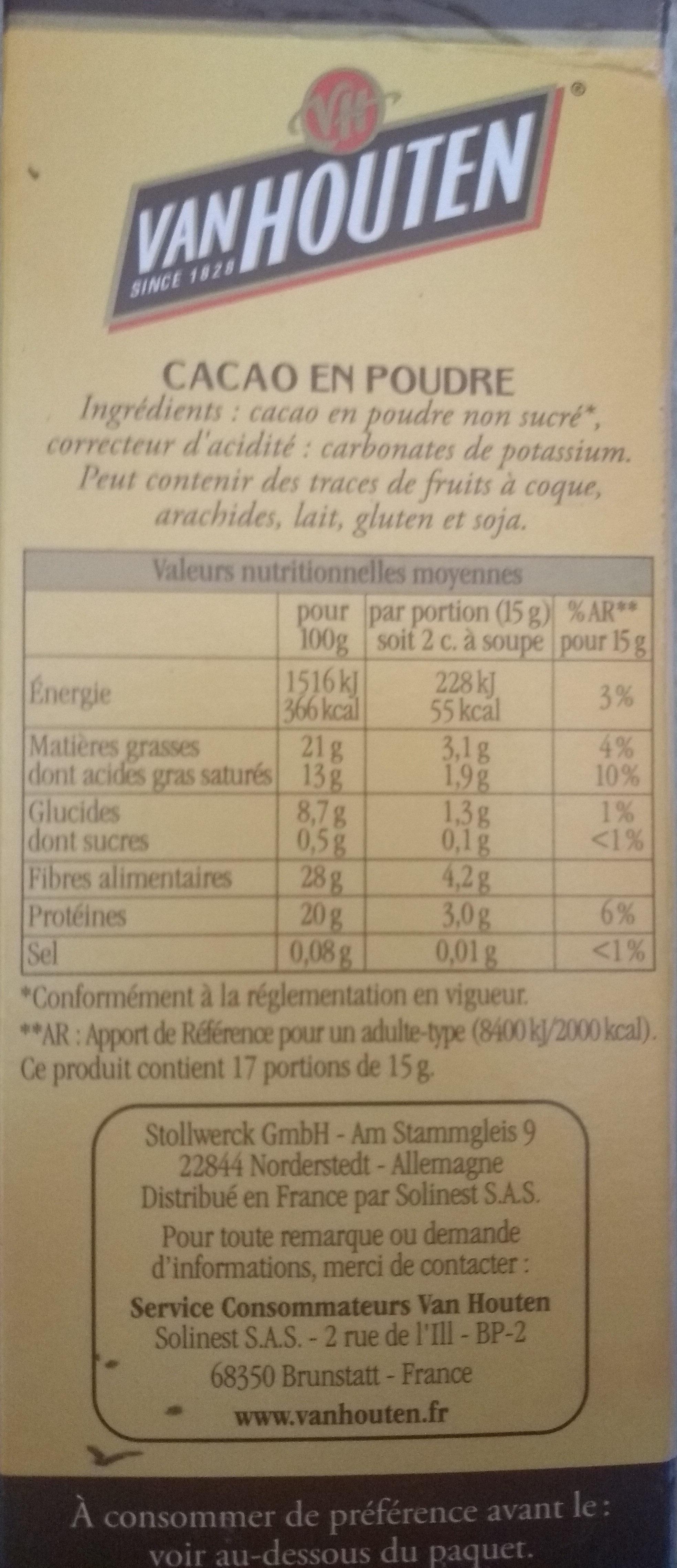 l'original cacao en poudre non sucré - Ingredients - fr