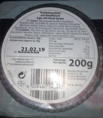 Truthahn-Salami mit Rindfleisch - Product