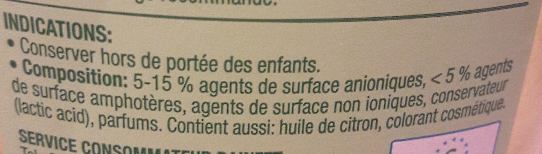 Liquide vaisselle super dégraissant Citron - Ingredients