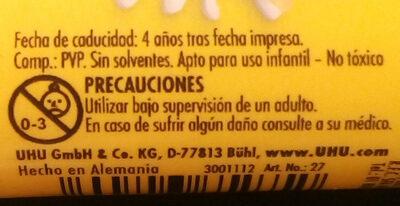 Lápiz adhesivo - Ingredients