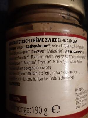 Creme Zwiebel Walnuss - Ingredients