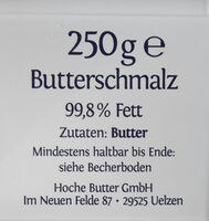 Küchenpracht Butterschmalz - Ingredients - de