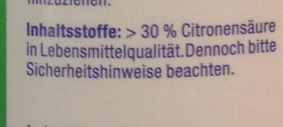 Reine Citronensäure - Ingredients - de