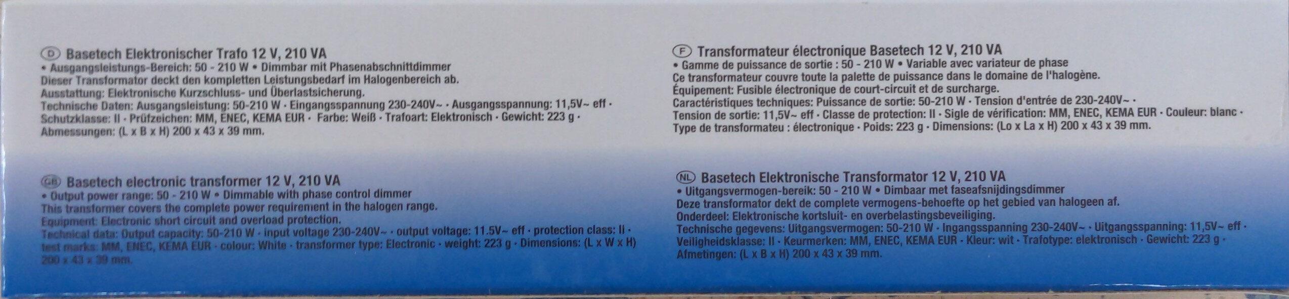 Transformateur électronique Basetech 12 V, 210 VA - Product - en