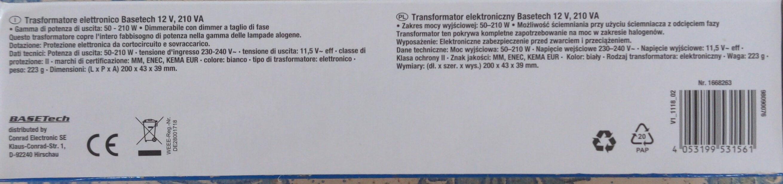 Transformateur électronique Basetech 12 V, 210 VA - Ingredients - fr