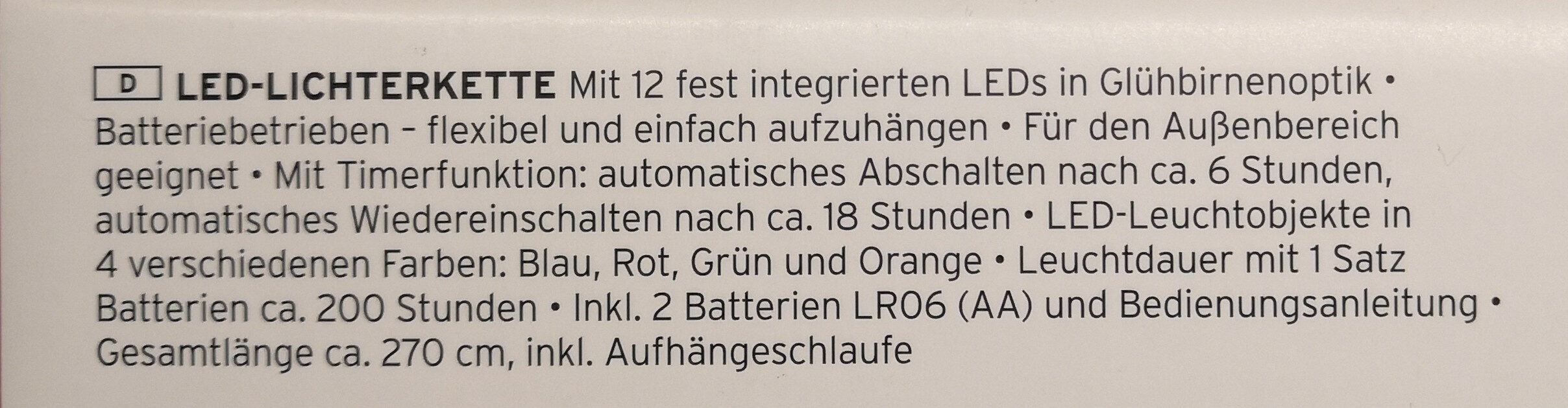LED-Lichterkette - Ingredients - de