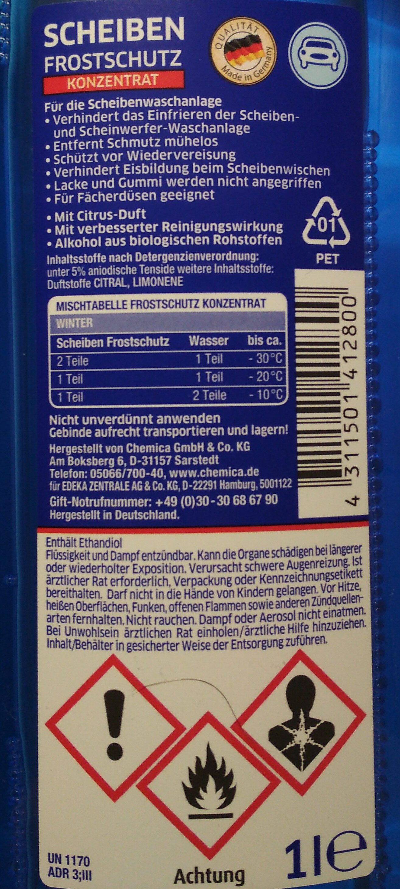 Scheiben Frostschutz Konzentrat - Ingredients