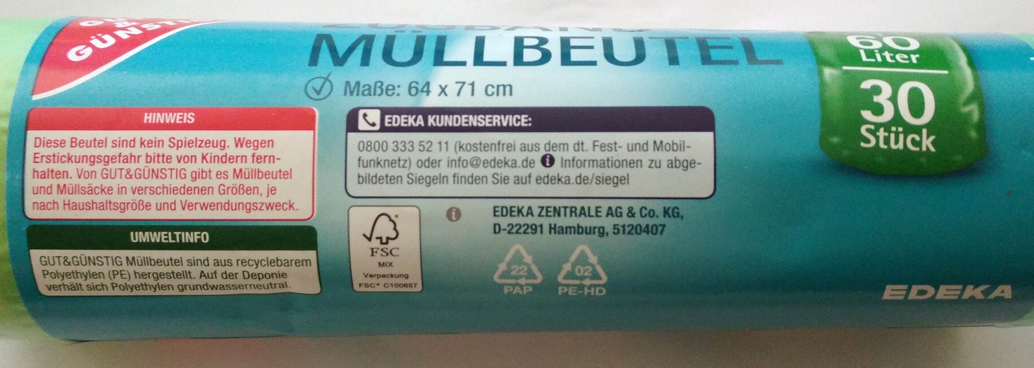 Zugband Müllbeutel - Ingredients - de