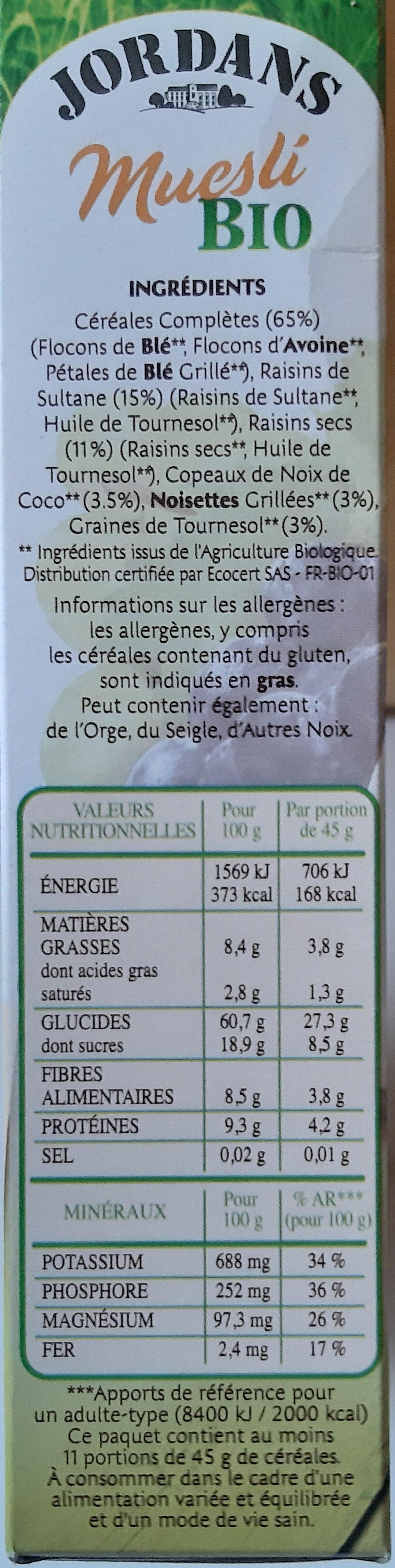 Mesli Bio - Ingredients - fr
