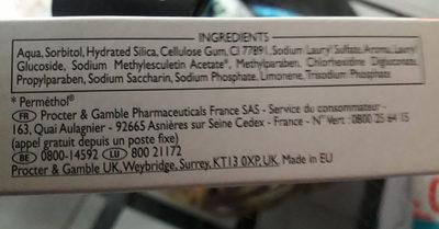 dentifrice - Ingredients