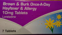 Brown & Burk Once a day Hayfever & Allergy 10 mg Loratadine Tablets - Product - en