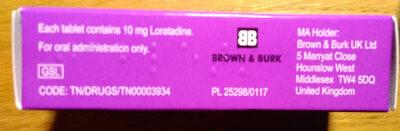 Brown & Burk Once a day Hayfever & Allergy 10 mg Loratadine Tablets - Ingredients - en