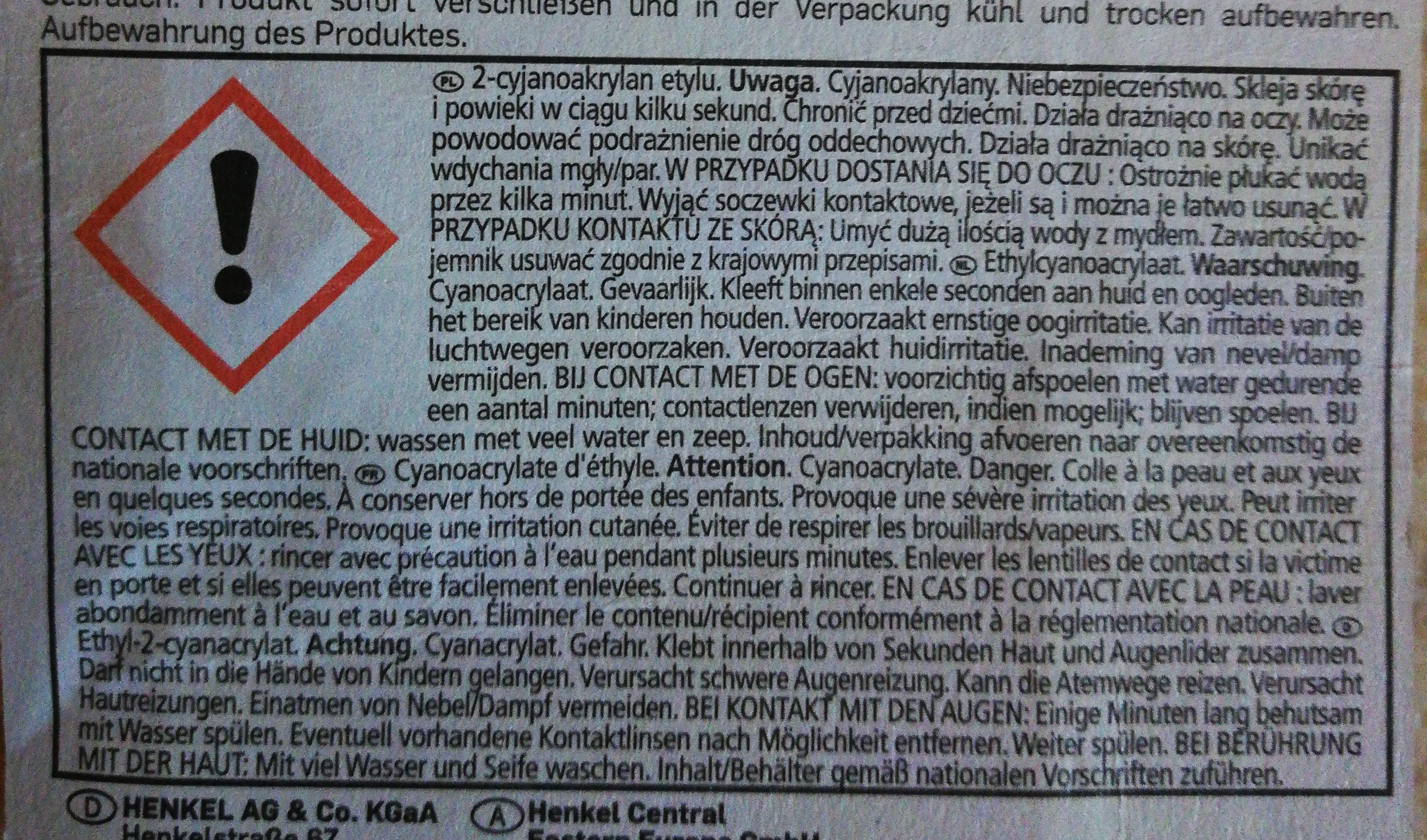 instant glue - Ingredients - fr