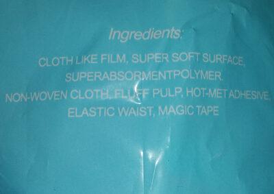 Pañales desechables XG - Ingredients - es