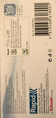 Rapid Agrafes Standard 26 / 6, Galvanisé - Ingredients