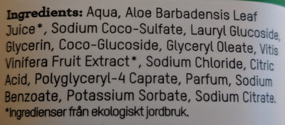 Ekologisk Certifierad Duschtvål Fjällets Harmoni - Ingredients