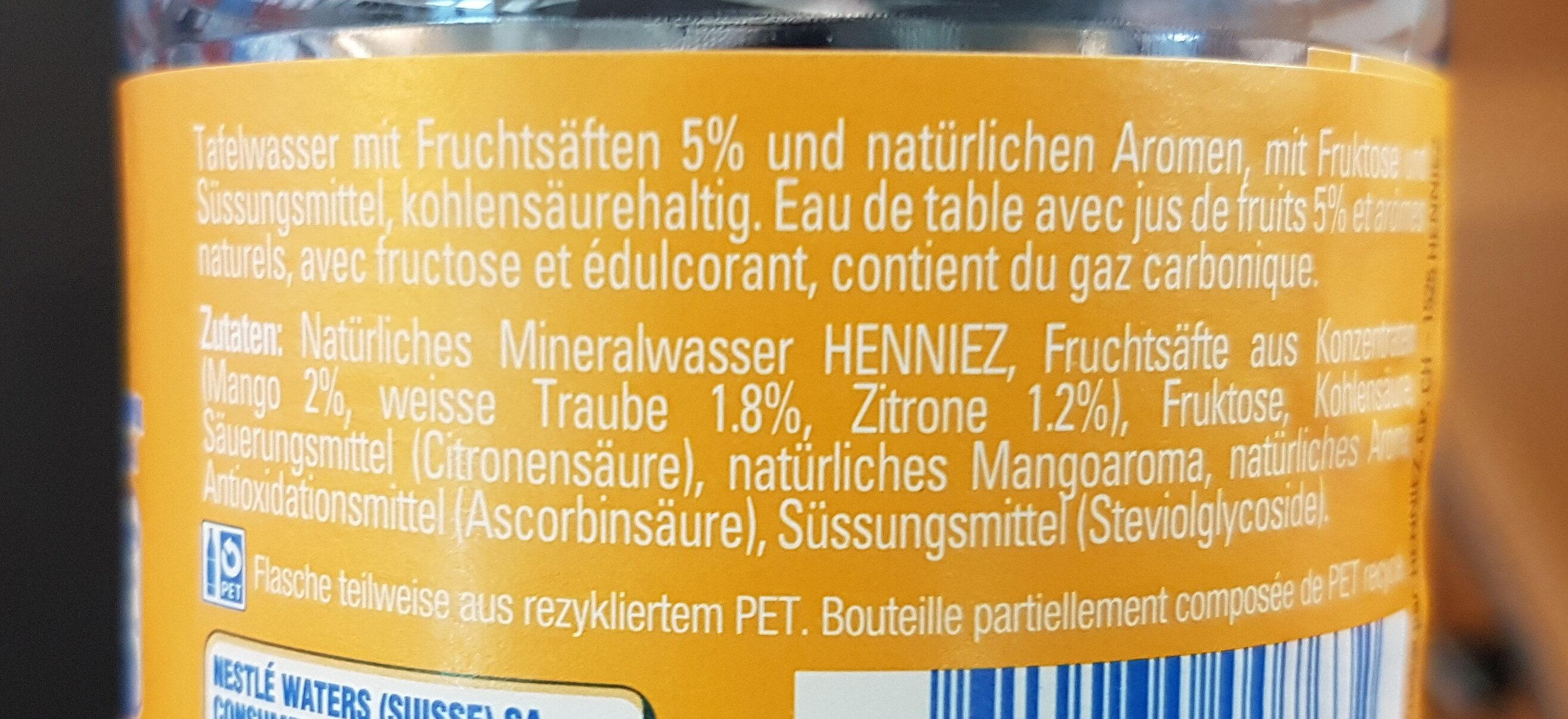 henniez Mango saveur Yuzu - Ingredients
