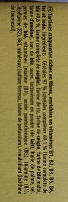 Cracotte enrichies en fibres - Ingredients