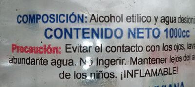 Alcohol 70% v/v - Ingredients - es
