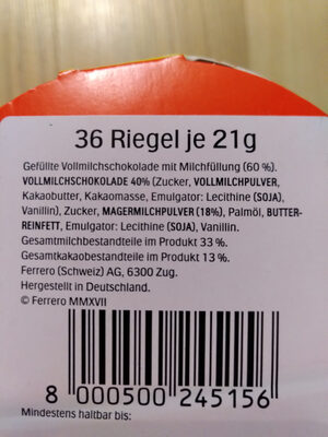 Kinder Riegel - Ingredients - en
