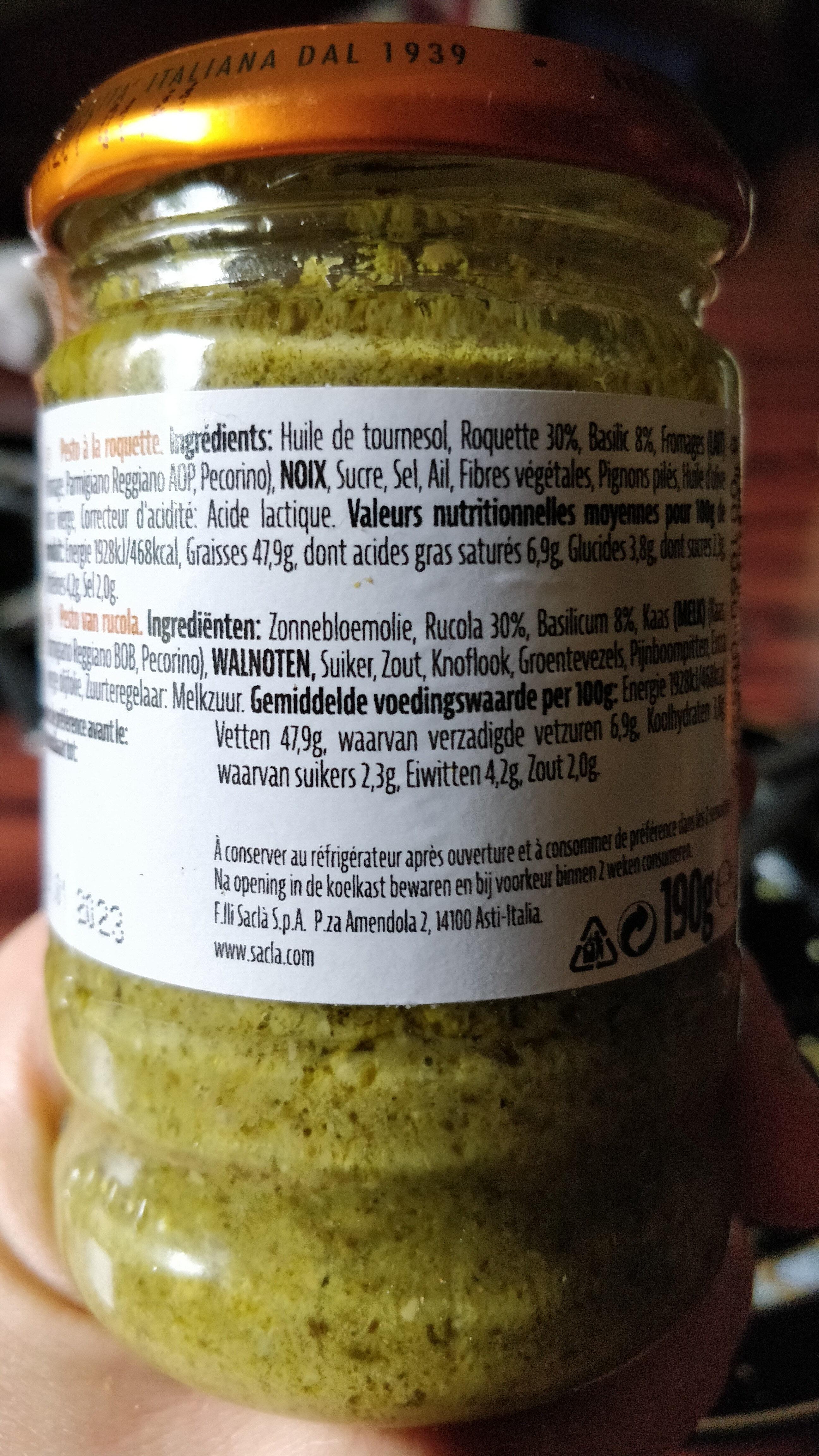 Pesto Alla Rucola - Ingredients - fr