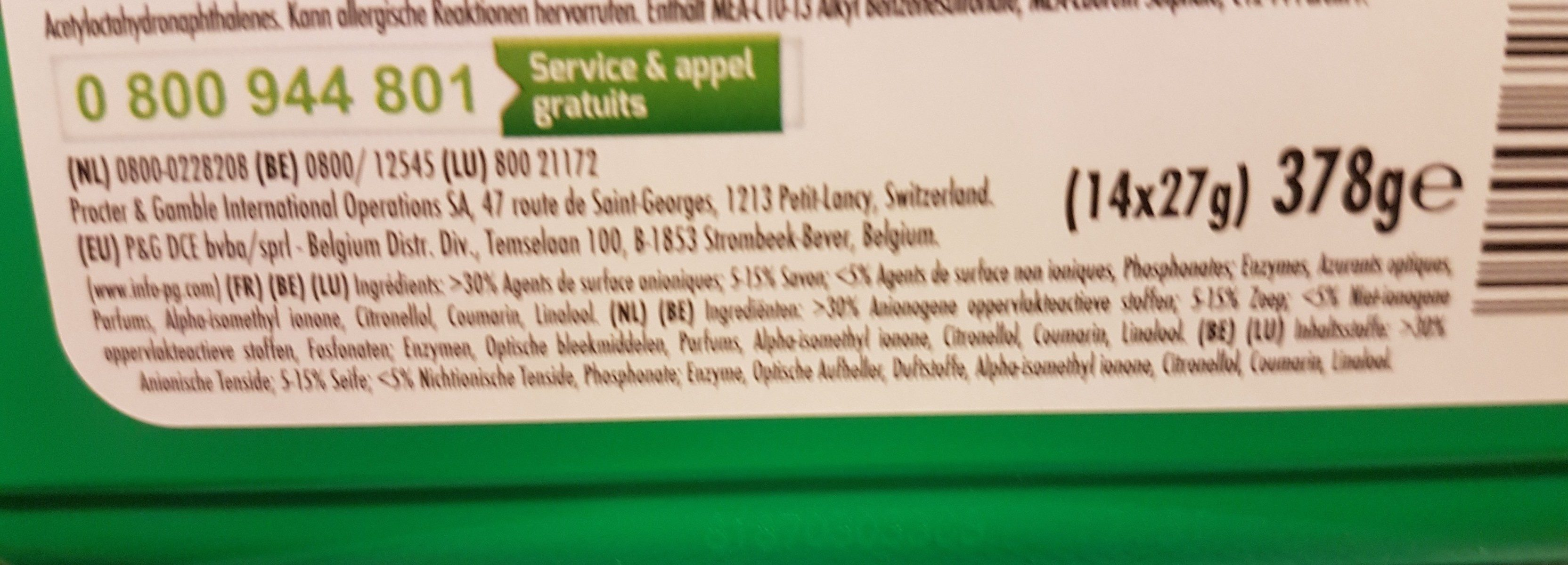 ARIEL PODS 3 EN 1 - Ingrédients - fr