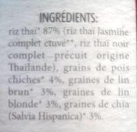 Mélange oméga 3 biologique avec riz Thaï, graines de lin brun et blonde, graines de Chia (salvia hispanica) - Ingredients - fr