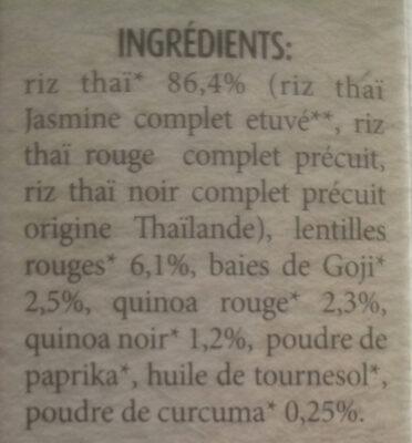 Mélange antioxydant avec riz Thaï, quinoa, baies de Goji et Curcuma - Ingredients