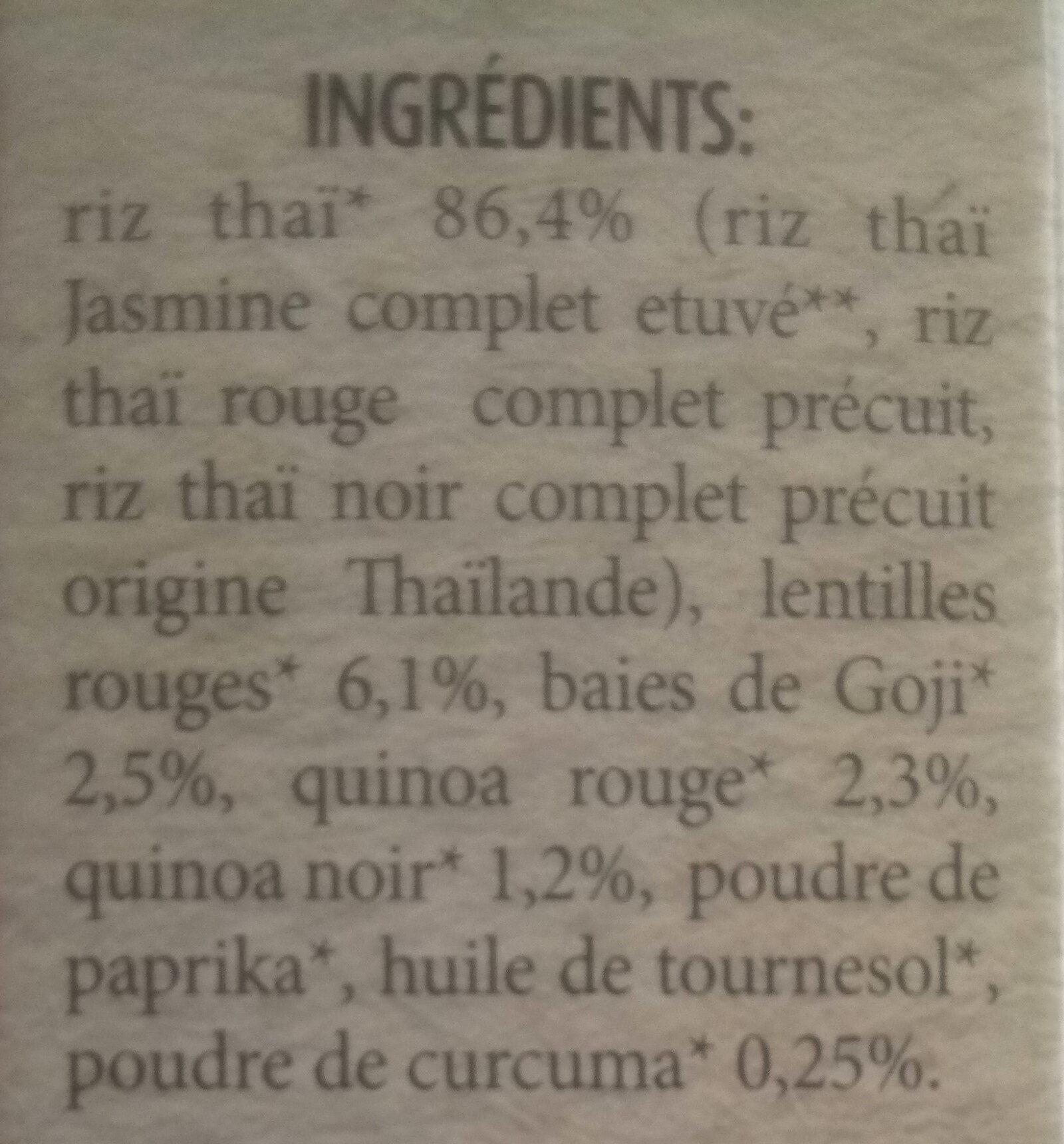 Mélange antioxydant avec riz Thaï, quinoa, baies de Goji et Curcuma - Ingredients - fr