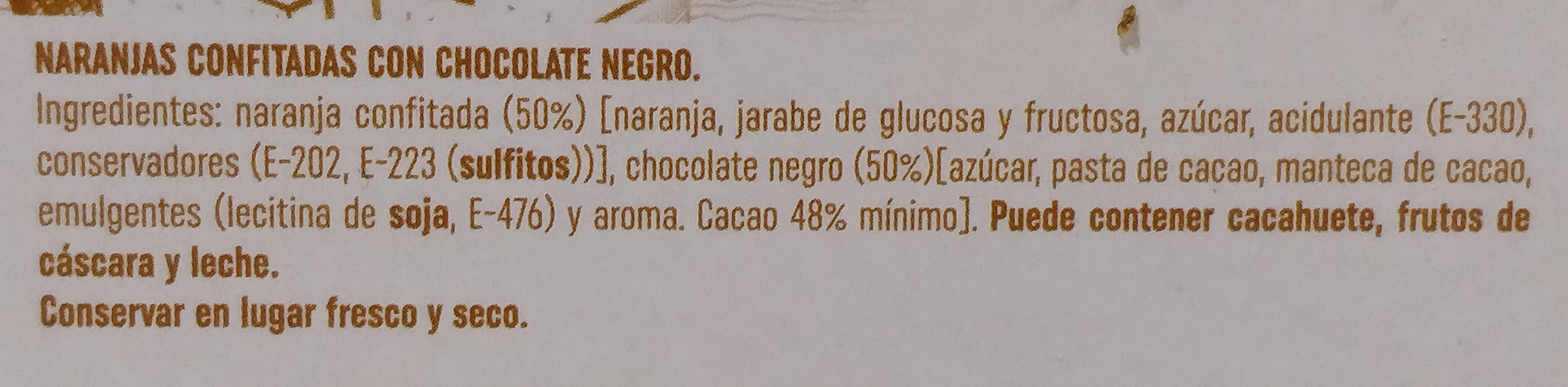 Naranja de Valencia confitada con Chocolate Negro - Ingredients
