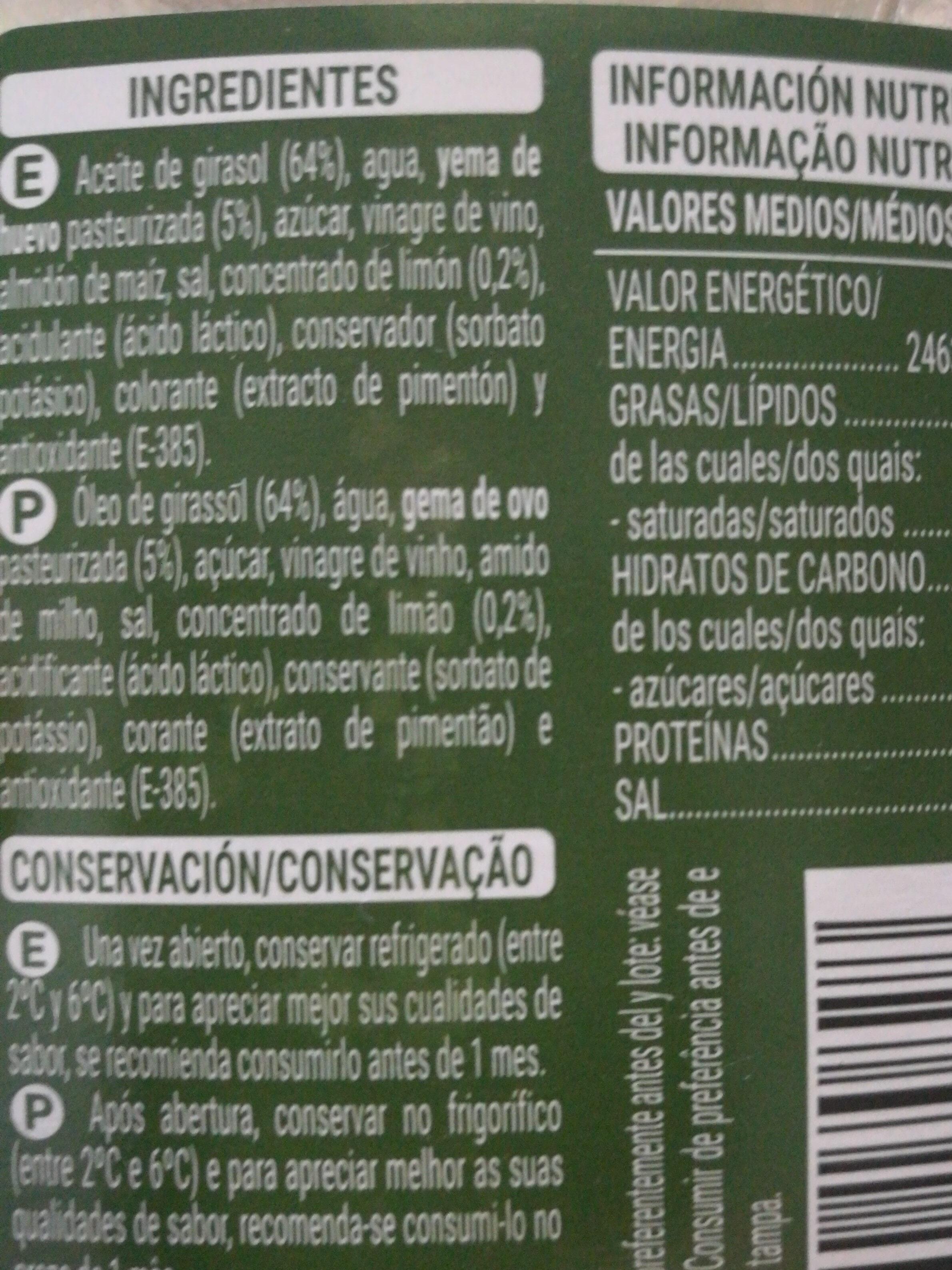 mayonesa hacendado - Ingredients