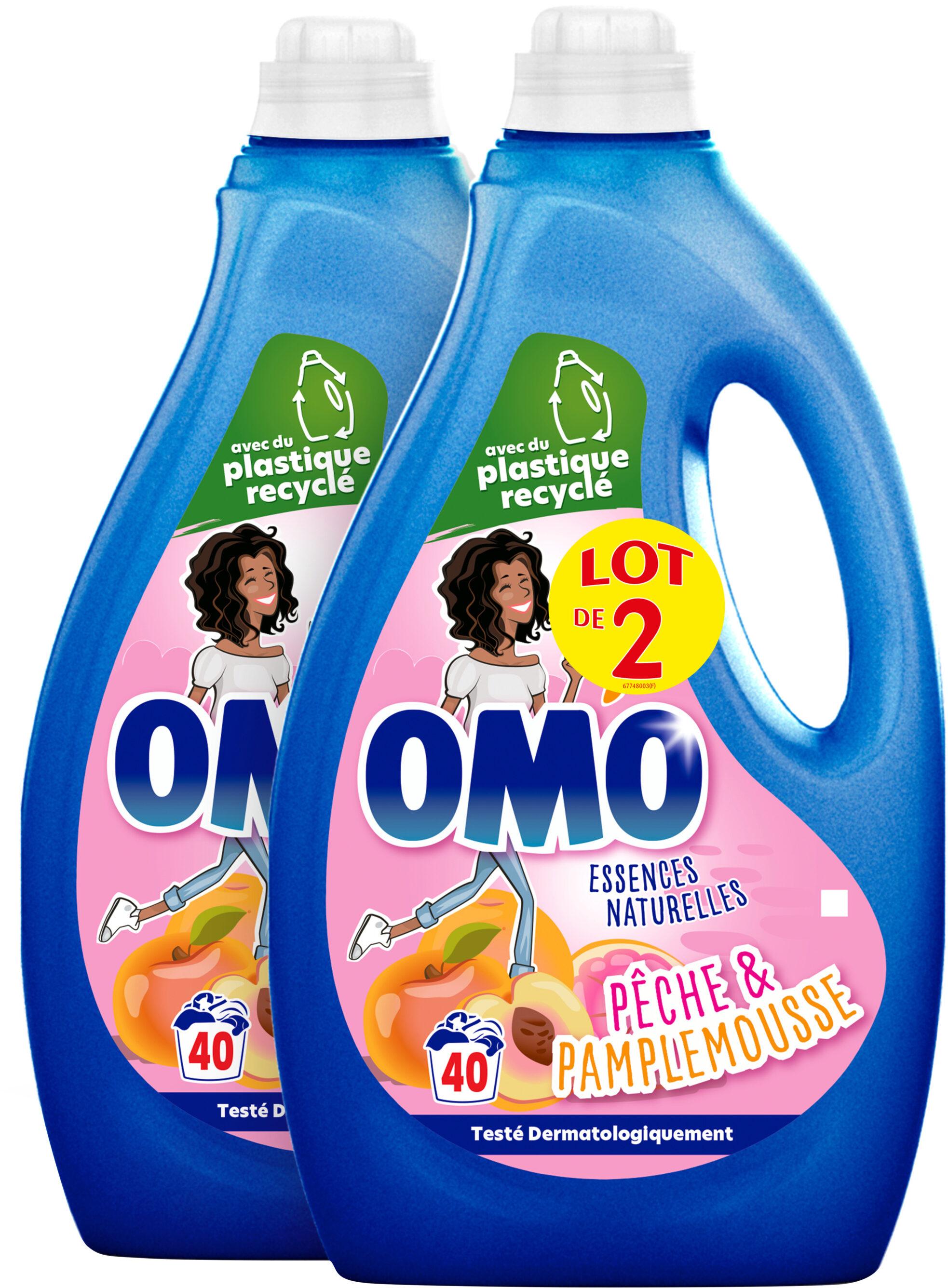Omo Lessive Liquide Pêche & Pamplemousse 2l 40 Lavages Lot de 2 - Produit - fr