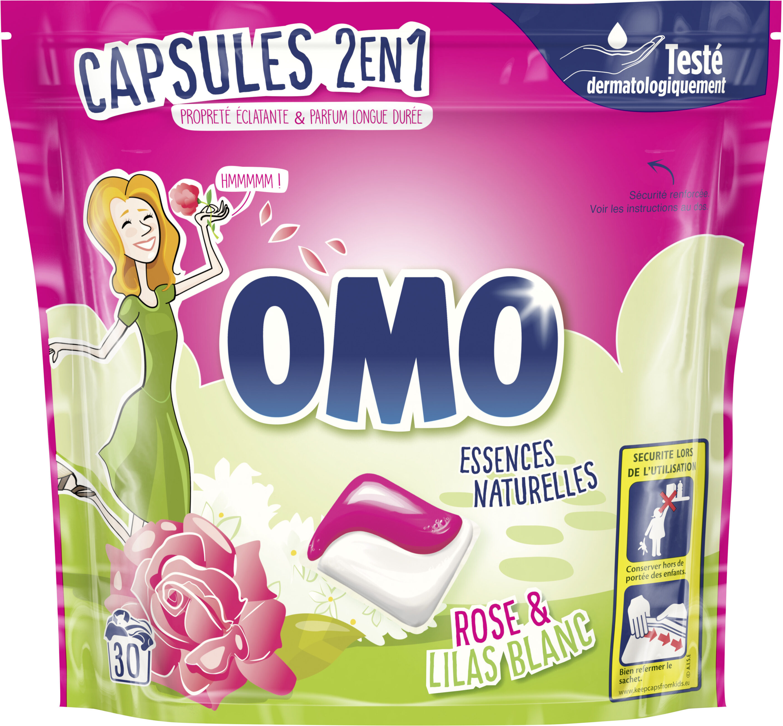 Omo Lessive Capsules 2en1 Rose & Lilas Blanc 30 dosettes - Product - fr