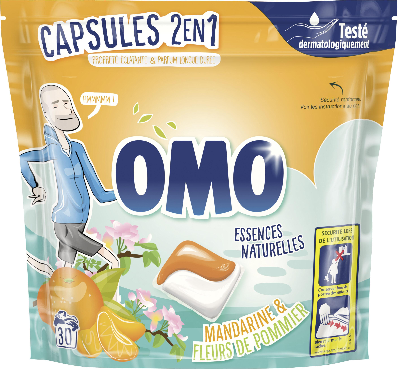 Omo 2en1 Lessive Capsules 2en1 Mandarine & Fleurs de Pommier 30 Dosettes - Product - fr