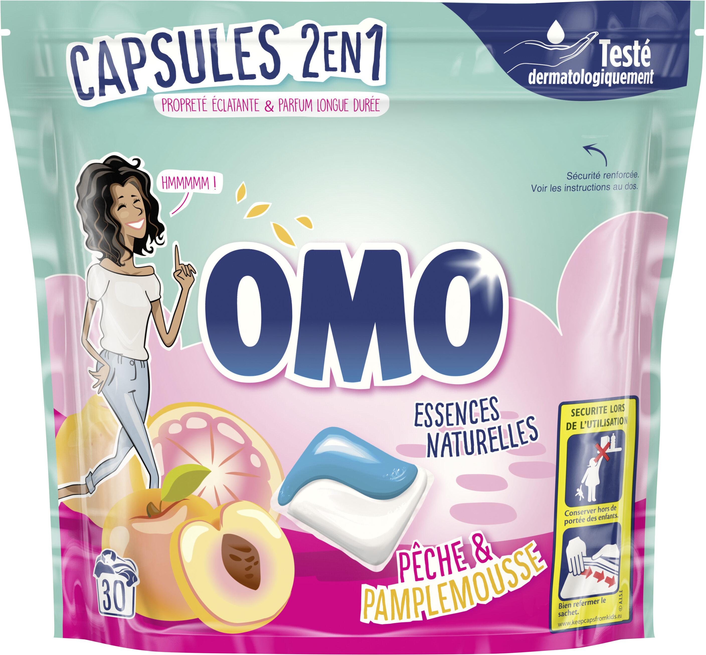 Omo Lessive Capsules 2en1 Pêche & Pamplemousse 30 Dosettes - Product - fr