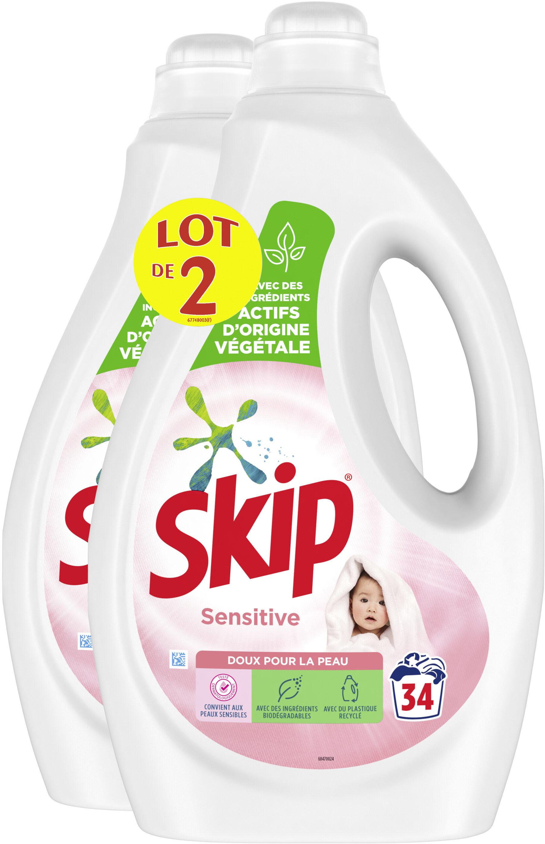 Skip Lessive Liquide Sensitive Peaux Sensibles & Bébés Lot 2x1.7l - 68 Lavages - Produit - fr