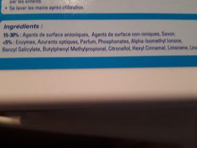 Lessive capsules - Ingrédients